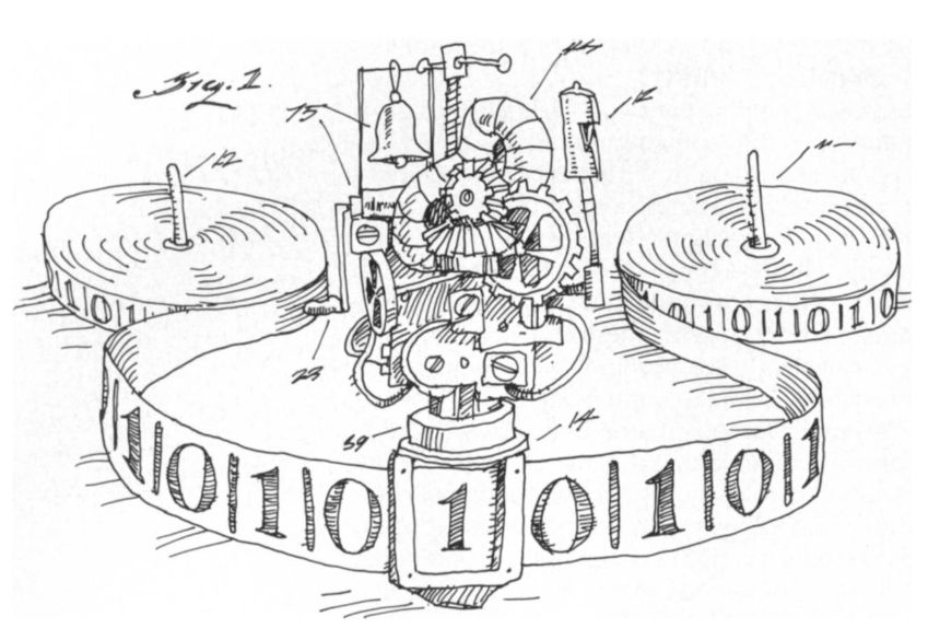 Cartoon of a Turing Machine by Tom Dunne 2002